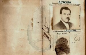 One of Mengele's documents while in Argentina