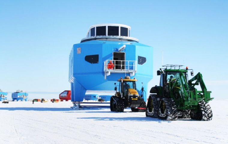 Halley VI Research Station is currently being relocated to a new site 23 kilometres ms upstream