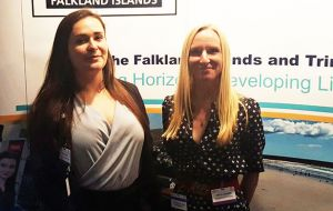The Falkland Islands' governments stand at the T&T energy conference. Almost a hundred stands are at the show