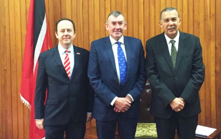 British High Commissioner Tim Stew, MLA Ian Hansen and Trinidad and Tobago's president Anthony Carmona