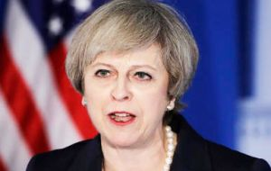 "Mrs. May said: ""It is in our interests, Britain and America, to stand strong together to defend our values, our interests and the very ideas in which we believe.(Pic AP)"