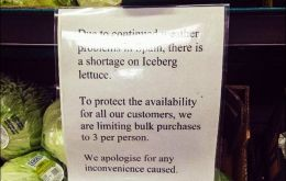 """Due to continued weather problems in Spain there is a shortage of iceberg lettuce"", a notice in a Tesco store read."