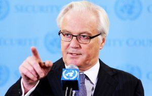 """With regard to the position of UK, I want to advise: give back the Malvinas, Gibraltar, return the annexed part of Cyprus, return the Chagos"", said Churkin"