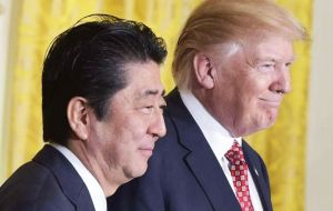 """We had a very, very good talk last night, and discussed a lot of subjects. It was a long talk"", said Trump during a press conference Japanese PM Shinzo Abe."