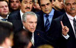 "Temer who said nothing in public about the crisis all week, called the situation ""unacceptable"", adding demonstrators ""cannot hold the Brazilian people hostage."""