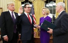 "After Mnuchin's swearing-in ceremony in the Oval Office, Trump said Americans should know that ""our nation's financial system is truly in great hands."""