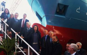 MLA Phyllis Rendell and CFL chair Tom Blake underlined the vessel was entirely financed with Falklands' funds (Pic Europa Press)