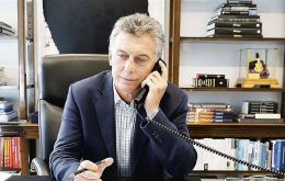 Macri speaking with Trump from his office at the Olivos presidential residence