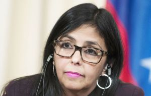 "Foreign Minister Delcy Rodriguez told reporters the government had ""ordered the relevant authorities to take action"" against the channel."