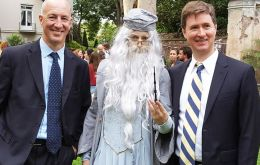 HMA Mark Kent poses for a picture with Albus Dumbledore and Canadian Ambassador, Robert Fry.