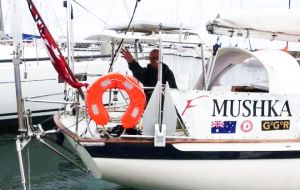 Solo skipper Shane Freeman abandoned the Mushka yacht which has been scuttled to prevent a hazard to navigation, after being rescued by a Chilean Navy sea