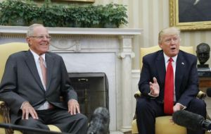 "Trump called Peru, a country of 30 million in South America, ""a fantastic neighbor"" and said it was an honor to have Kuczynski in the White House"
