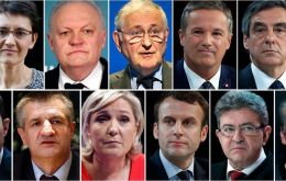 A combination picture shows candidates for the French 2017 presidential election,