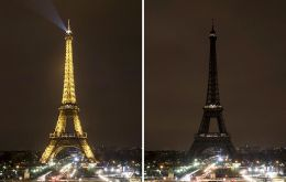 In Paris, the lights of the Eiffel Tower went out from midnight (23:00 GMT) in a tribute to the victims.
