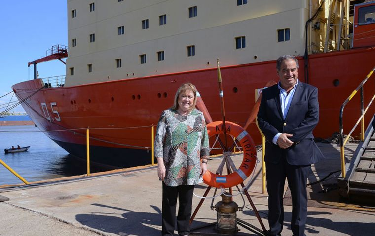 Malcorra and Martinez before boarding for a tour of the recovered icebreaker Almirante Irizar