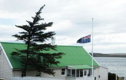Flag at the seat of the Falklands' government flies at half mast for London victims