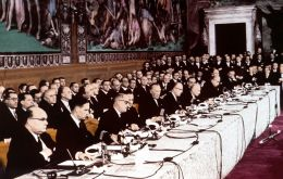 The Treaties of Rome were signed on 25 March 1957 by representatives of Belgium, France, Germany, Italy, Luxembourg and the Netherlands.