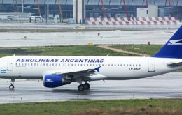 Aerolineas Embraer 190 receives the traditional water cannons ceremony when it arrived at Mar del Plata airport