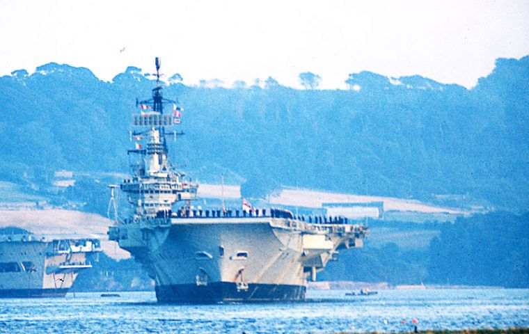 Falklands flagship HMS Hermes was decommissioned last month and is heading towards the scrap heap.