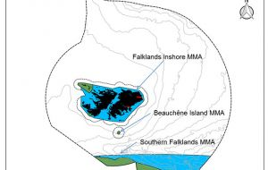 Map showing location of the three proposed Marine Management Areas (MMAs) around the Falklands