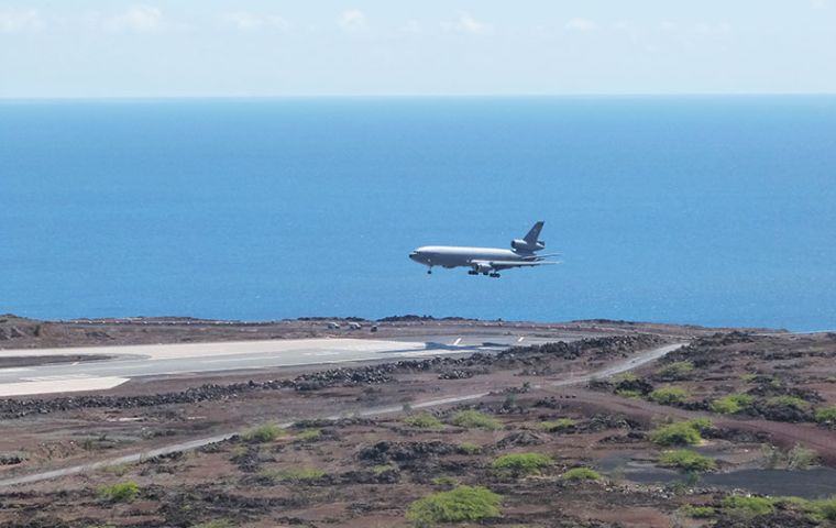 Ascension Island is the normal call for the Brize Norton/MPA air bridge