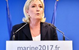 "Marine Le Pen told a rally that recent immigration of largely Middle Eastern and North African migrants is a ""tragedy for France"""