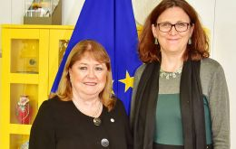 Malcorra met with EU Trade Commissioner Cecilia Mälmstrom to discuss issues related to a Mercosur/EU accord