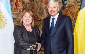 The Argentine minister while in Brussels also held an interview with her peer Didier Reynders to prepare a state visit of president Macri to Belgium