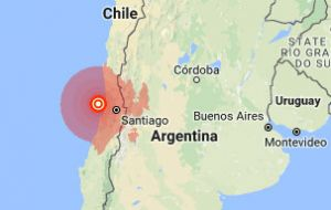 The quake was centered about 137 km from Santiago, and some 35 km west of the coastal city of Valparaiso.
