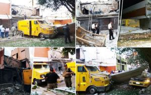 Earlier on Monday about 60 men moved into the city blew up the front of a private security firm and the vaults, while firing on police.