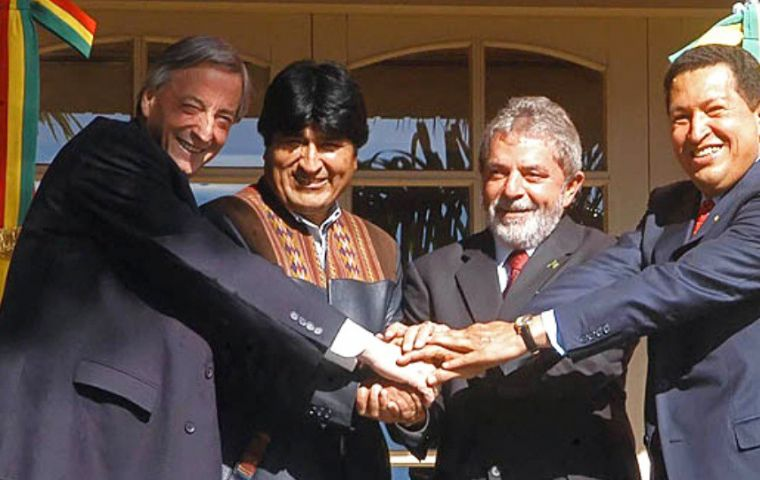 At the time of its launching Unasur was under the influence of Brazil's Lula da Silva and Dilma Rousseff, the Kirchners, Hugo Chavez, Rafael Correa.