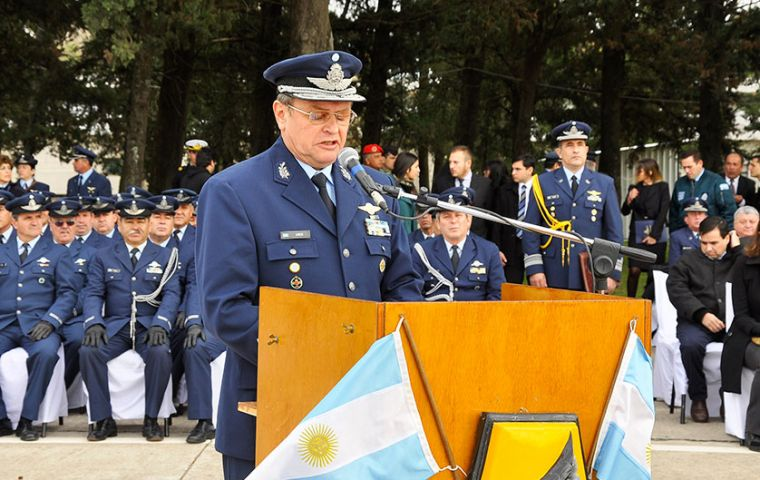 Brigadier General Amrein was the main speaker at the day commemoration at the El Palomar Brigade I seat