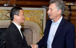 Argentine president Mauricio Macri and Alibaba Executive Chairman Jack Ma meet at Government House following the MOU to open up new trade opportunities