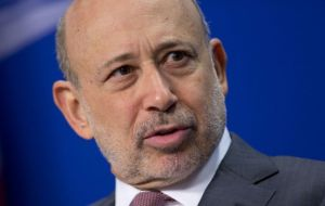 "Lloyd Blankfein also said that London's position as a dominant financial centre could ""backtrack"" and ""stall"" as a result of Britain's divorce from the EU."