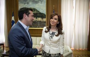 Later Cristina Fernandez held a private meeting with Prime Minister Alexi Tsipras. She is in Greece on an invitation from the ruling party Syriza