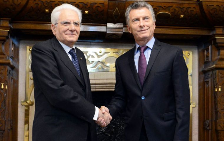 """The visit of president Mattarella is evidence of the affection of Italy towards Argentina but also of trust in the process that was started in 2015"", Macri said"