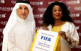 Qatar Airways Group Chief Executive, Akbar Al Baker and FIFA Secretary General, Fatma Samoura at the official signing ceremony of the new sponsorship