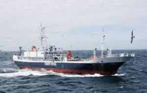 Falklands' Fishery Protection Vessel Protegat is in the scene because of the 560 tons of heavy fuel oil and 180 tons of marine gas oil the abandoned vessel is carrying