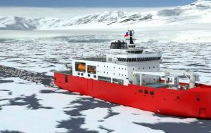The new vessel, 111 meters long, 21 meters beam and 7.2 meters draft will be able to sail at a constant speed of over 2 knots in one meter thick one year old ice