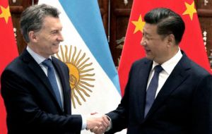 Macri will be received in Beijing by president Xi Jinping, when the two countries will be signing several accords totaling more than US$ 30bn