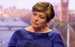 "Asked whether she could envisage military action to protect the sovereignty of the Falklands, Thornberry had said simply: ""Yes.""  (Pic ITV)"