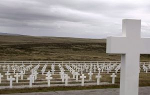 "The Darwin cemetery in the Falklands has 237 graves of Argentine combatants of which 123 remain as """"known only to God""  (Pic EPA)"