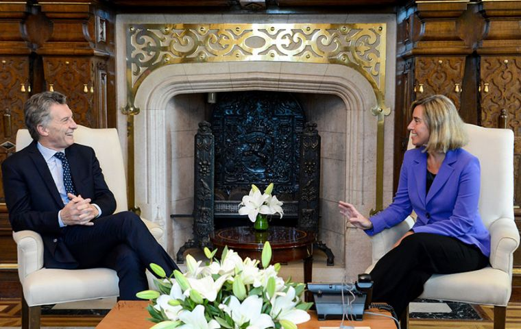 In her second visit to Argentina Ms Mogherini met with President Mauricio Macri and Foreign Affairs minister, Susanna Malcorra.