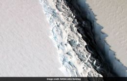 The crack now has just 8 miles to go before an iceberg roughly the size of the state of Delaware breaks free into the Southern Ocean.