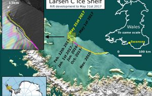 """Larsen C may eventually follow the example of its neighbor Larsen B, which disintegrated in 2002 following a similar rift-induced calving event."""