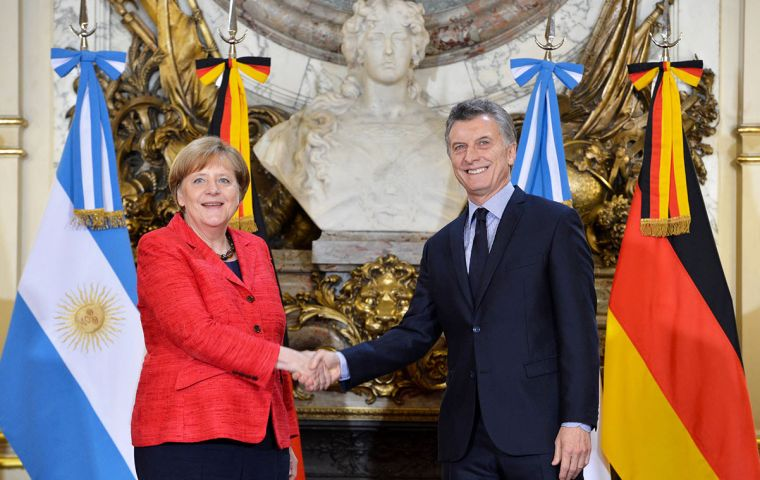 """Germany is seeking allies for the issues that matter to us, just as other countries are seeking allies,"" she added later at a news conference alongside Macri."