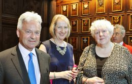 FCO Sir Alan Duncan MP, FIG Representative Sukey Cameron MBE and Hon. Mrs. Jan Cheek MLA.