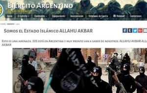 "Signs like ""We are the Islamic State. This is a threat. ISIS is in Argentina and soon you will hear from us. Allahu Akbar (sic, Allah is great)"" could be read on the army's website for about 20 minute"