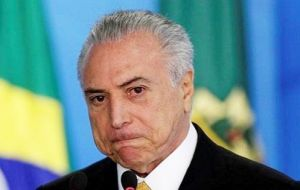 Temer has already withdrawn from attending the G-20 summit next week in Germany in view of the charges against him.