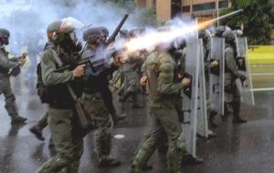 Tear gas and pellets were fired by Nicolas Maduro's forces during the repression.